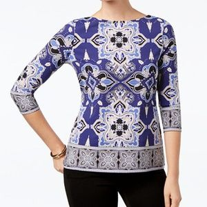Charter Club Blouse Printed Boat Neck Top Blue